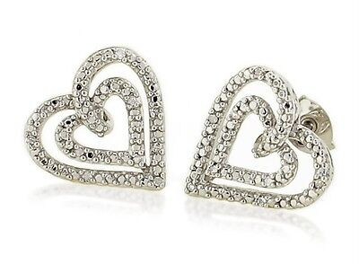 Sterling Silver White Diamond Earrings .925 Dual Heart Studs .05ct 13mm NR