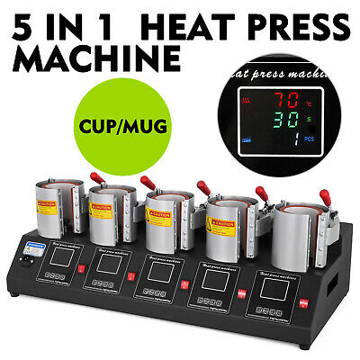 5 in 1 Digital 5 Cup Mug Heat Press Machine 11/15/16 oz 110V/60 Hz 1500 Watt