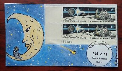 Space, Man/Lunar Rover on Moon #1434-35 FDC, new, signed Hayden cachet, P Block!