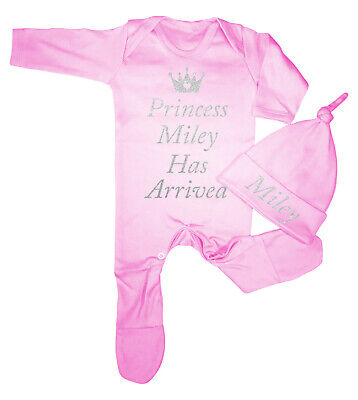 Personalised princess has arrived Babygrow Set Hospital Outfit newborn baby gift