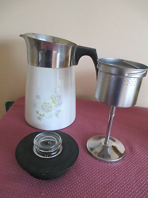 Vtg Corning Ware 6 Cup Stovetop Percolator, Floral Bouquet, Display Or Parts