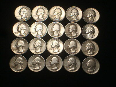 Washington Quarters $5 Face Value Lot Of (20) Coins 1/2 Roll 90% Silver L1