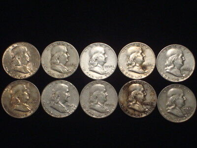 Franklin Half Dollars Lot Of 10 Coins 1/2 Roll $5 Face Value  90% Silver L2