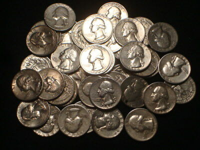Washington Quarters Roll (40) 90% Silver $10 Face Value Mixed Dates And Mints