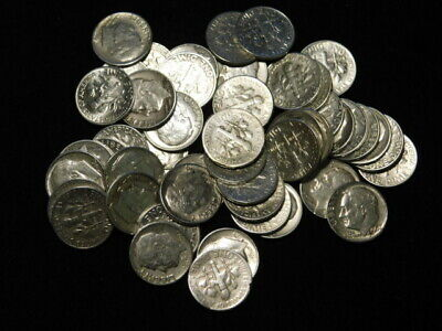 Roosevelt Dimes Roll (50) $5 Face Value 90% Silver Vf-Unc. Mixed Dates/mints L3