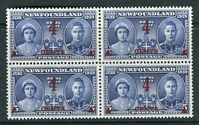 NEWFOUNDLAND; 1939 early surcharged issue fine Mint hinged 4c. Block