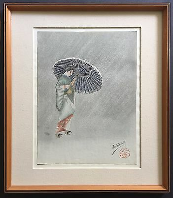 "Antique / Vintage Japanese Original Watercolor  ""Geisha With Umbrella"" Signed"