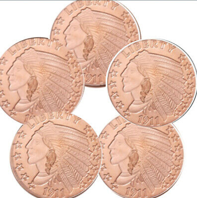 Lot of 5 - 1 oz Copper Rounds Incuse Indian
