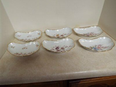 Vintage Lot of 6 Crescent Shaped Fish Bone Small Salad Plates Dishes