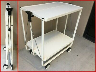 Vintage Modernist White FOLDING Trolley/Serving/Bar Cart by FRZ (Germany), MCM