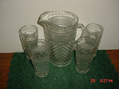 "5-Pc Anchor Hocking ""Wexford"" Lrg 9 1/2"" Pitcher & 4 Tumblers/Vintage/Free Ship!"