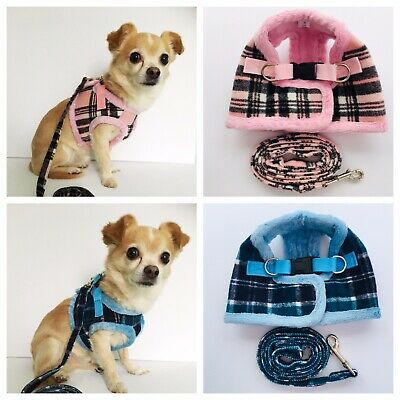 Small Dog Harness and Lead Set Check Tartan Pink Blue Pup Chihuahua Yorkie XS-L
