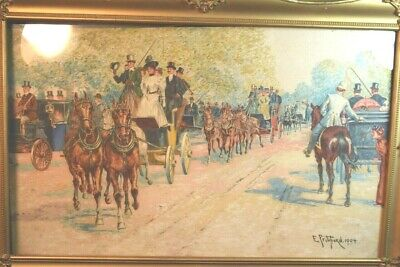 Edward Pritchard Watercolor People in Horse Drawn Carriages