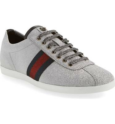 e07c4becaf5  800 GUCCI BAMBI Glitter Web Sneaker with Studs SILVER Mens Shoes 11 ...