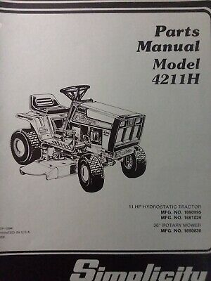 SIMPLICITY HYDRO 4211H 4212H Lawn Tractor Mower Parts