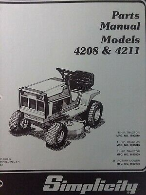 SIMPLICITY 4208 4211 Lawn Tractor & Mower Parts Manual 1690840 ... on simplicity conquest wiring diagram, simplicity vacuums filtration diagram, simplicity landlord wiring diagram, simplicity snow blower wiring diagram, simplicity sovereign wiring diagram, simplicity tractor electrical schematic, simplicity sunstar wiring diagram, riding mower wiring diagram, simplicity broadmoor wiring diagram, simplicity garden tractor wiring help,