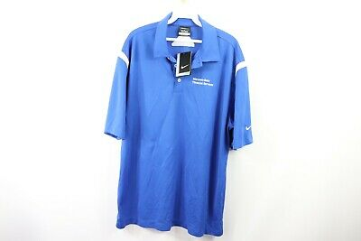 New Nike Golf Mens Large Mercedes Benz Financial Services Golf Polo Shirt Blue