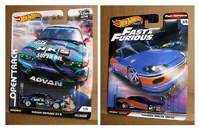 HOT WHEELS 2019 NISSAN SKYLINE & NISSAN SILVIA Fast and Furious and OPEN TRACK