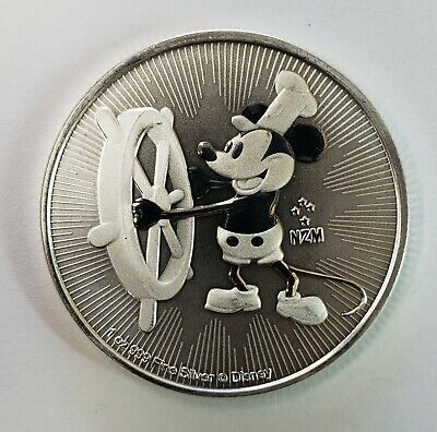 Disney Mickey Mouse Steamboat Willie 1 oz. 999 Silver Coin 2 Dollar Niue 2017