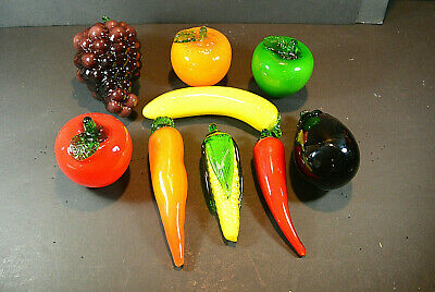 Lot of 9 Vintage Murano Style Hand Crafted Glass Life Size Fruit/ Vegetables