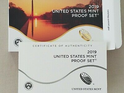 2019-S ~Proof Set Clad~In Original Box~ With~Coa & 2019~W Lincoln Cent /& Paper