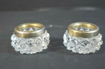 Pair  Russian 875 Gilt Silver and Crystal Glass Salt Cellars