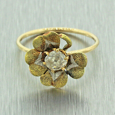 Antique Art Deco 14k Solid Yellow Gold 0.25ctw Diamond Four Leaf Clover Ring