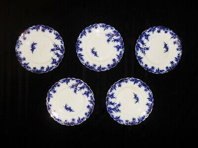 """Lot of (5) Antique Dover Flow Blue Dinner Plates 10""""  W.H. Grindley - Awesome!!"""