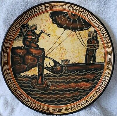 Vintage Greek Ceramic Pottery Plate Hand Made In Greece 450 B.C. Wall Hanging