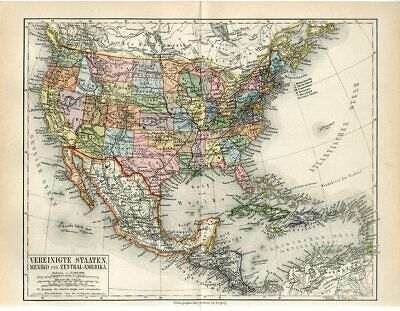 1888 USA UNITED STATES OF AMERICA MEXICO and CENTRAL AMERICA Antique Map