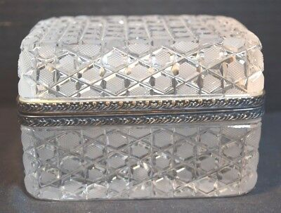 Fine French Glass Cut Crystal Box with Silverplate Mounts
