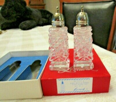 Vintage Leonard Glass & Silver-Plate Salt/Pepper Original Box Beautiful Cut