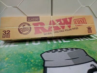 Bulk Pack of 32 RAW King Size Classic Pre-Rolled Cones~New In Box