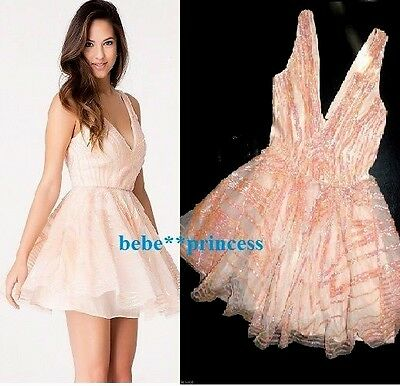 $200 NWT bebe coral pink nude sequin lace double v neck flare top dress S Small