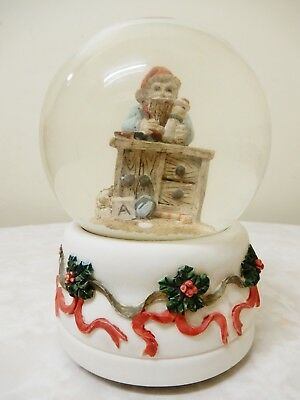 Vintage Christmas Santa Snow Globe/dome- Wind-Up Musical Gift Scene 15Cm High