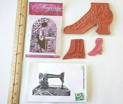 5 Vintage Singer SEWING MACHINE Seamtress VICTORIAN SHOEs Boot Rubber Stamps