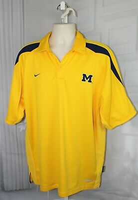 c1d20bed Mens NIKE Dri Fit Sphere Dry Gold & Blue University of Michigan UofM s/s
