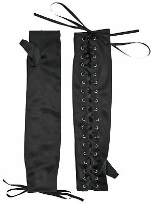 Black Full Length Fingerless Lace Up Womens Gloves