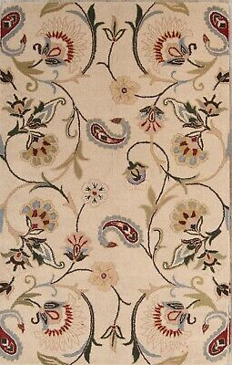 Traditional Floral Ivory Oushak Oriental HandTufted Wool Round Rug 10' Round 5x8