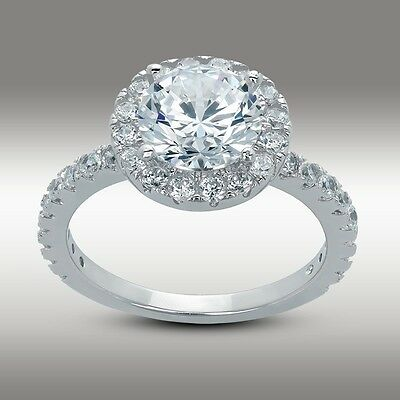 3.10 Ct Brilliant Round cut Halo Engagement Ring Lab Diamond Solid 14K W Gold