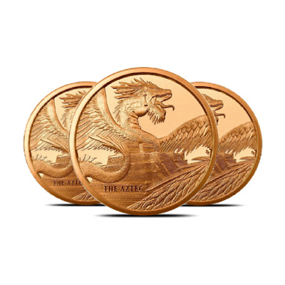 LOT OF 3 The Aztec 1 oz .999 Copper Round   World of Dragons-LIMITED EDITION DnD