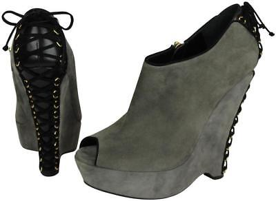 603523df71d Nwob Yves Saint Laurent Ysl Madge Grey Gray Suede Wedge Ankle Boot, 40.5  $1295