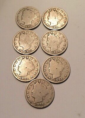 1899 - 1911 Liberty Head Nickel Lot of 7 Coins