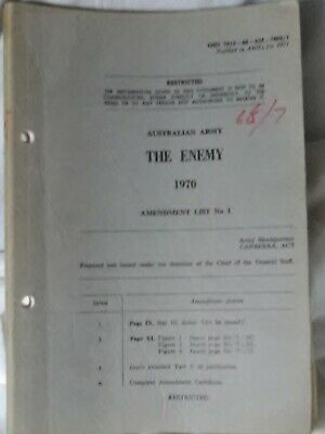 Vintage Anzac Australian Army Manual The Enemy ,1970 Vietnam War