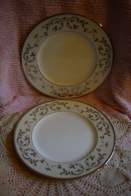 2 Lenox Fine China Ivory American By Design Opal Innocence Silver Dinner Plates