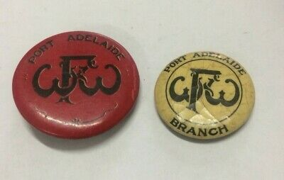 2 Port Adelaide WWF Waterside Workers Federation Button Badges Union