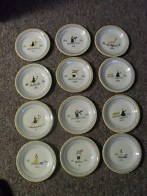 France French  Pottery Plates Animals And Children Set Of 12