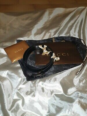 GUCCI cintura belt pelle leather nero black cm 90 made in italy