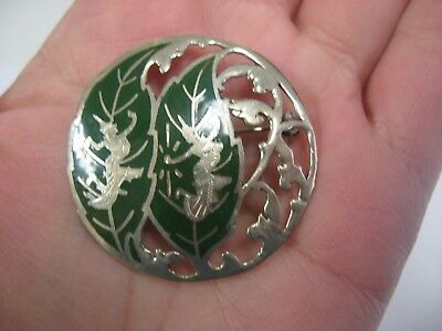 Vintage Thailand Hand Made Silver Brooch Pin Enamel Thai Dancer Siam Sterling
