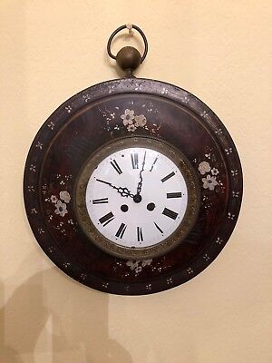 Beautiful Antique Vintage French Tole Painted Burgundy Clock Handpainted Flowers